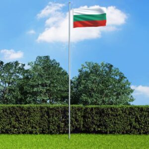 Bandeira da Bulgária com mastro de alumínio 4 m - PORTES GRÁTIS