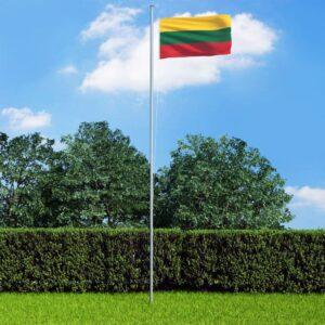 Bandeira da Lituânia com mastro de alumínio 4 m  - PORTES GRÁTIS