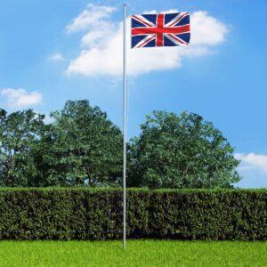 Bandeira do Reino Unido com mastro de alumínio 4 m  - PORTES GRÁTIS