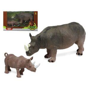 Conjunto 2 Animais Selvagens Rinoceronte