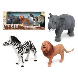 Conjunto 3 Animais Selvagens Elefante Leão Zebra