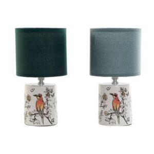 Lâmpada de mesa DKD Home Decor Algodão Grés 220 V Verde Menta 40 W (2 pcs) (14 x 14 x 27.5 cm)