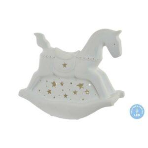 Lâmpada de mesa DKD Home Decor Branco Porcelana 25W 220 V LED Cavalo (25 x 10 x 23 cm)