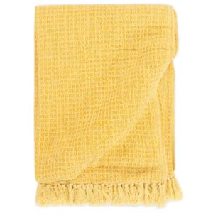 Manta em algodão 160x210 cm amarelo mostarda  - PORTES GRÁTIS