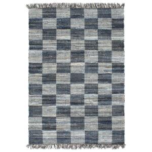 Tapete chindi tecido à mão denim 120x170 cm azul - PORTES GRÁTIS