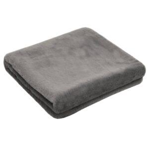 Manta em pele de coelho artificial 100x150 cm cinza-escuro - PORTES GRÁTIS