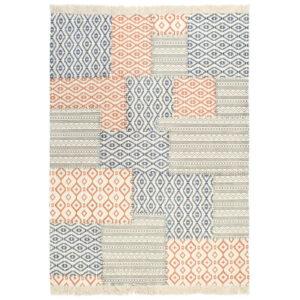 Tapete Kilim tecido à mão 160x230 cm algodão padrão multicor  - PORTES GRÁTIS