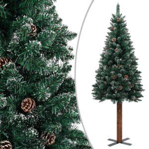 Árvore de Natal fina madeira genuína e neve branca 210 cm verde - PORTES GRÁTIS