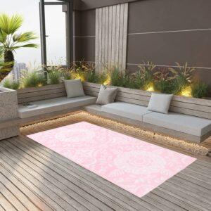 Tapete de exterior 80x150 cm PP cor-de-rosa - PORTES GRÁTIS