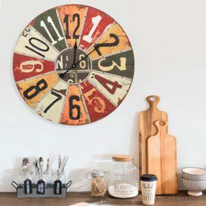 Relógio de parede 60 cm MDF multicor - PORTES GRÁTIS