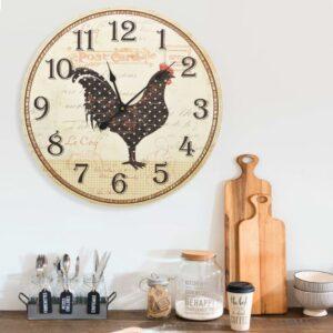 Relógio de parede com desenho de galinha 60 cm MDF multicor - PORTES GRÁTIS