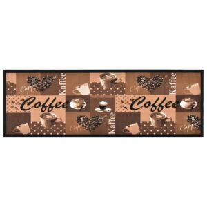 Tapete de cozinha lavável com design café 60x180 cm castanho - PORTES GRÁTIS
