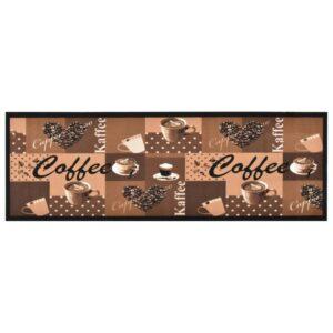 Tapete de cozinha lavável com design café 60x300 cm castanho - PORTES GRÁTIS
