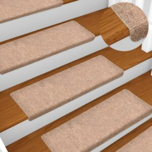 Tapetes de escada 5 pcs 65x25 cm agulhado castanho - PORTES GRÁTIS