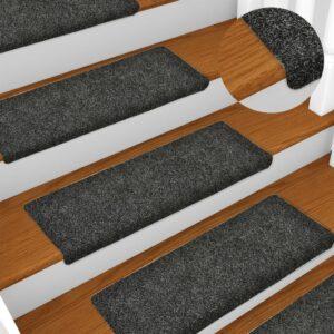 Tapetes de escada 5 pcs 65x25 cm agulhado cinzento - PORTES GRÁTIS