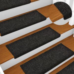 Tapetes de escada 5 pcs 65x25 cm agulhado preto - PORTES GRÁTIS