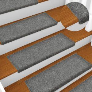 Tapetes de escada 5 pcs 65x25 cm agulhado cinzento-claro - PORTES GRÁTIS