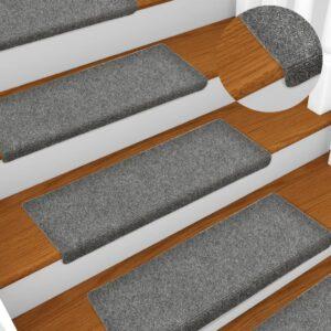 Tapetes de escada 10 pcs 65x25 cm agulhado cinzento-claro - PORTES GRÁTIS