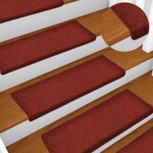 Tapetes de escada 5 pcs 65x25 cm agulhado bordô - PORTES GRÁTIS