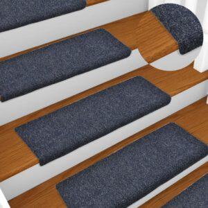 Tapetes de escada 10 pcs 65x25 cm agulhado antracite - PORTES GRÁTIS