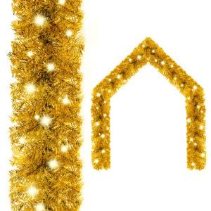 Grinalda de Natal com luzes LED 5 m dourado - PORTES GRÁTIS