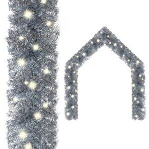 Grinalda de Natal com luzes LED 10 m prateado - PORTES GRÁTIS