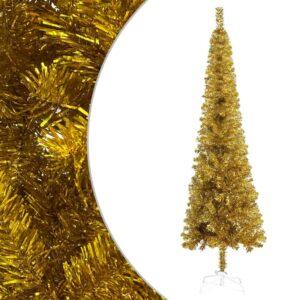 Árvore de Natal fina 210 cm dourado  - PORTES GRÁTIS