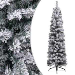 Árvore de Natal artificial fina com neve 120 cm PVC verde - PORTES GRÁTIS