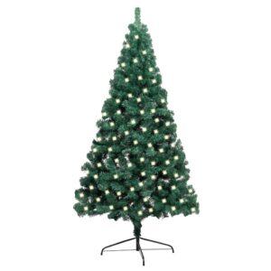 Meia árvore de Natal artificial LED e suporte 120 cm PVC verde - PORTES GRÁTIS