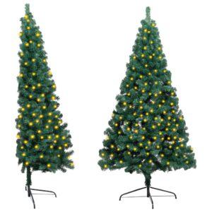 Meia árvore de Natal artificial LED e suporte 210 cm PVC verde - PORTES GRÁTIS