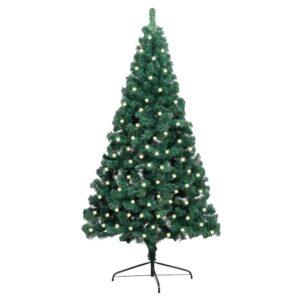 Meia árvore de Natal artificial LED e suporte 240 cm PVC verde - PORTES GRÁTIS