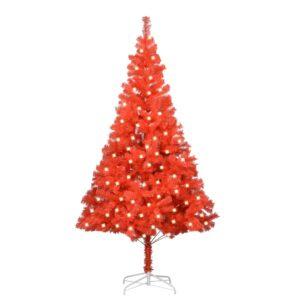 Árvore Natal artificial c/ luzes LED/suporte 240cm PVC vermelho - PORTES GRÁTIS