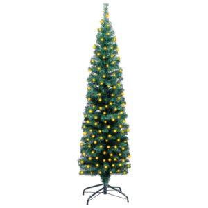 Árvore de Natal artificial fina LED e suporte 120 cm PVC verde - PORTES GRÁTIS