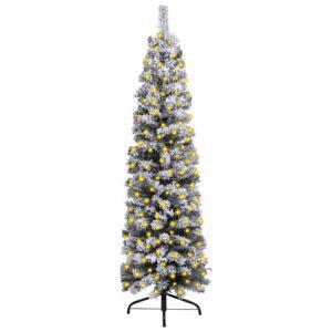 Árvore de Natal fina com luzes LED e neve 120 cm PVC verde - PORTES GRÁTIS