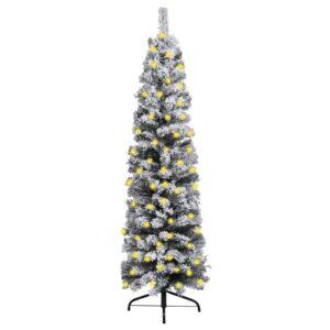 Árvore de Natal fina com luzes LED e neve 150 cm PVC verde - PORTES GRÁTIS