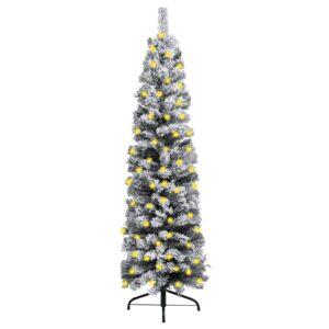 Árvore de Natal fina com luzes LED e neve 210 cm PVC verde - PORTES GRÁTIS