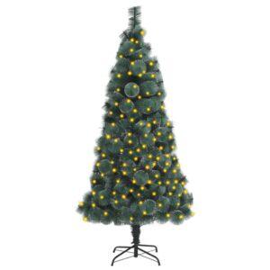 Árvore Natal artificial c/ luzes LED/suporte 180 cm PET verde - PORTES GRÁTIS