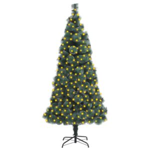 Árvore Natal artificial c/ luzes LED/suporte 210 cm PET verde - PORTES GRÁTIS