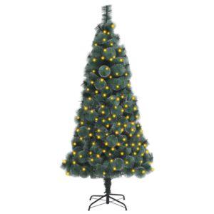 Árvore Natal artificial com luzes LED 150 cm PVC e PE verde - PORTES GRÁTIS