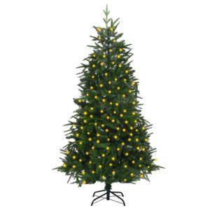 Árvore Natal artificial com luzes LED 180 cm PVC e PE verde - PORTES GRÁTIS