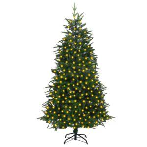 Árvore de Natal artificial com luzes LED 210 cm PVC & PE verde - PORTES GRÁTIS