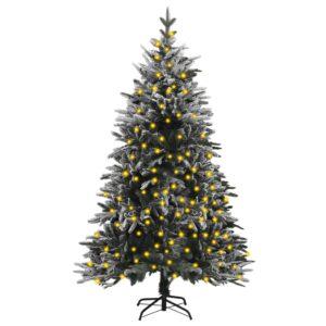 Árvore de Natal artificial com luzes LED e neve PVC e PE 120 cm - PORTES GRÁTIS